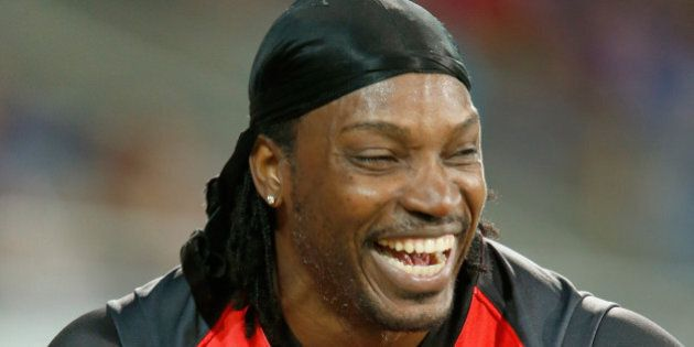HOBART, AUSTRALIA - JANUARY 04: Chris Gayle of the Melbourne Renegades laughs after giving a TV interview...