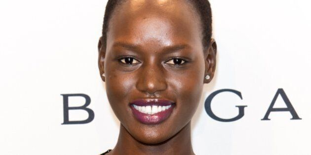 NEW YORK, NY - FEBRUARY 05: Model Angelique 'Ajak' Deng attends the 2014 amfAR New York Gala at Cipriani...