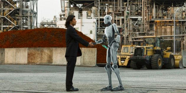Robot and human greeting in front of