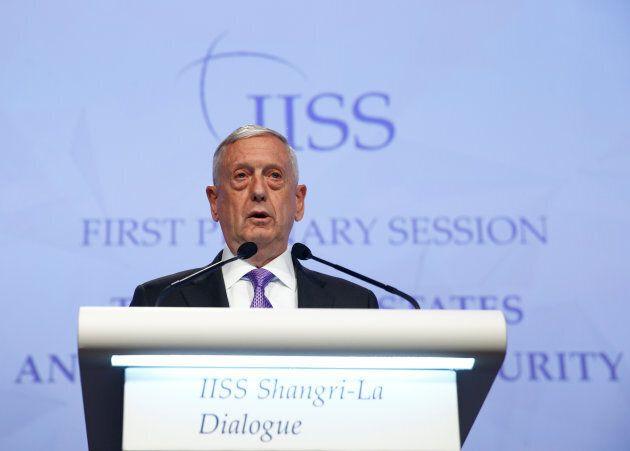 U.S. Secretary of Defense James Mattis speaks to the delegation.