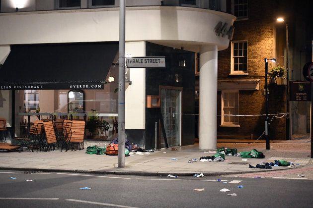Debris is strewn outside a cafe near London