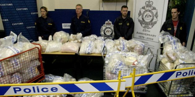 (AUSTRALIA & NEW ZEALAND OUT) Officials with the biggest ever MDMA seizure by Australian Customs Service...