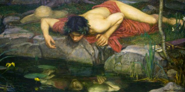 Echo and Narcissus by John William Waterhouse, fine art painting,