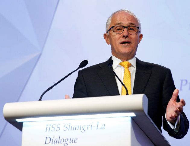 Prime Minister Malcolm Turnbull giving the keynote address at the IISS Shangri-La Dialogue in