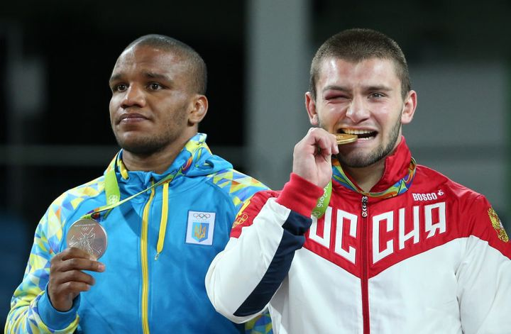 The Ukrainian didn't look too happy on the dais, but relations between the two teams are good here in Rio.