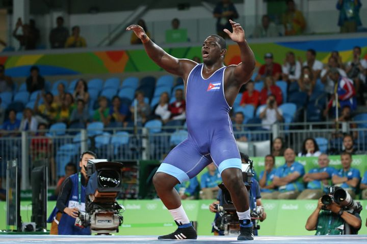 This is Mijain Lopez of Cuba, who just won his third straight Olympic gold in the men's 130 kg division.