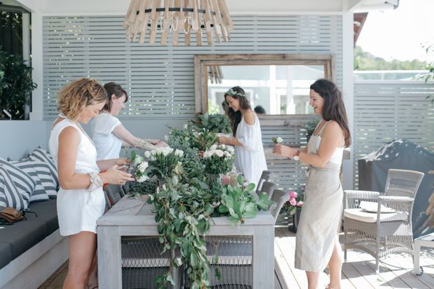 Bridesmaids can choose from experiences like floral wreath making, yoga or create your own