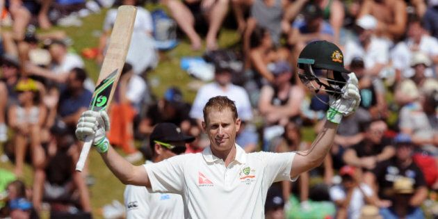 Australia's Adam Voges celebrates his century against New Zealand on the second day of the first International...