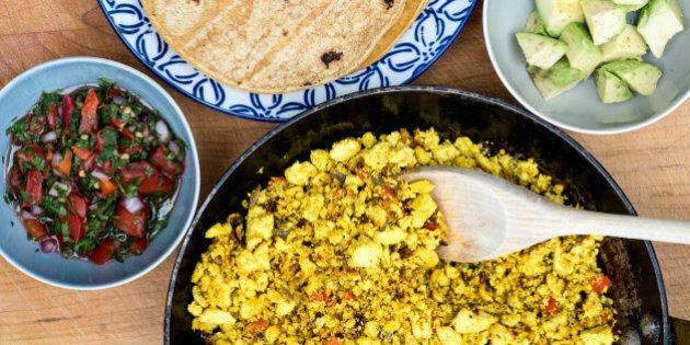 WASHINGTON, DC - DECEMBER 29: Tofu Scramble with Salsa Cruda for 1/6 Weeknight Vegetarian. Tableware...