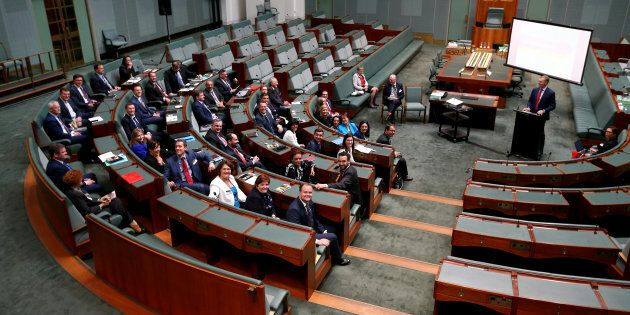 Speaker Tony Smith addresses new Members of Parliament during a seminar at Parliament House in Canberra...
