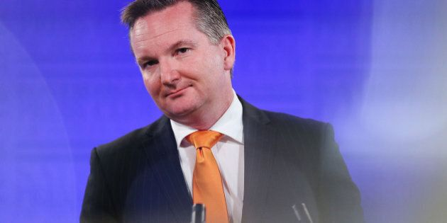 CANBERRA, AUSTRALIA - MAY 20: Shadow Treasurer Chris Bowen gives his budget reply address at the National...