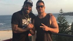 Chris Gayle Turns Up To Manners School With Jarryd Hayne But Gets The Uniform All
