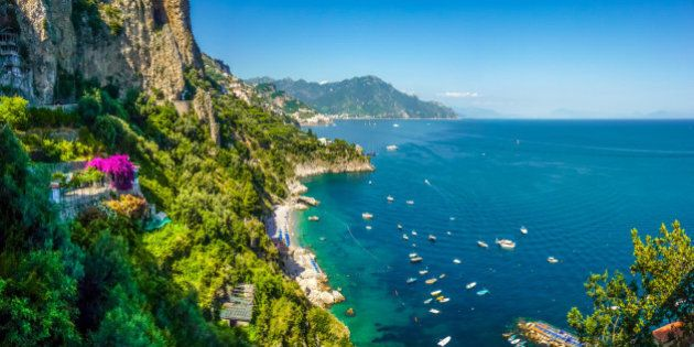 Panoramic view of famous Amalfi Coast with beautiful Gulf of Salerno, Campania,