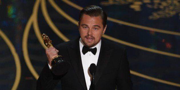 Actor Leonardo DiCaprio accepts the award for Best Actor in,The Revenant on stage at the 88th Oscars...