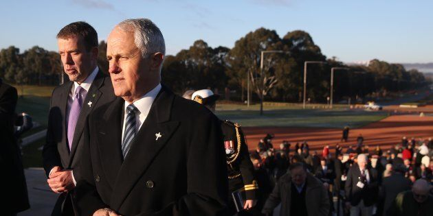 Prime Minister Malcolm Turnbull and Veterans' Affairs minister Dan Tehan attended the Stand-to Service...