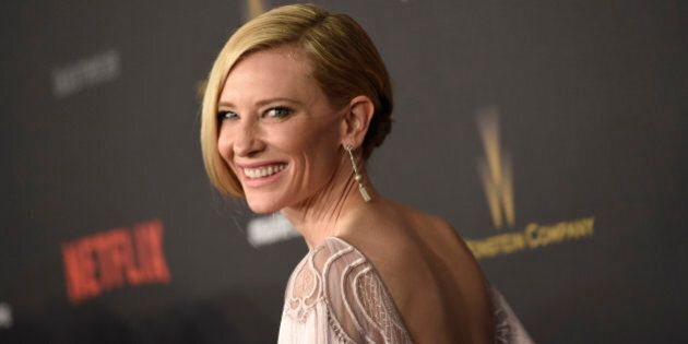 Cate Blanchett arrives at The Weinstein Company and Netflix Golden Globes afterparty on Sunday, Jan....
