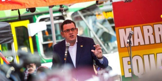 Premier Daniel Andrews addresses the crowd at the Equal Love