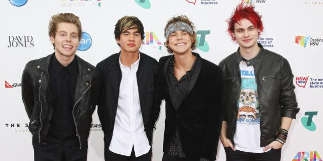 SYDNEY, AUSTRALIA - NOVEMBER 26: Members of 'Five Seconds of Summer' arrive at the 28th Annual ARIA Awards...