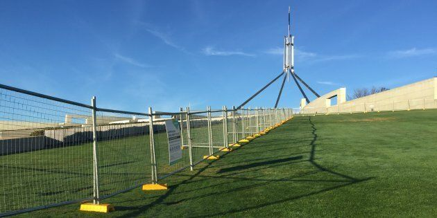 A temporary Parliament House security fence in readiness for a permanent