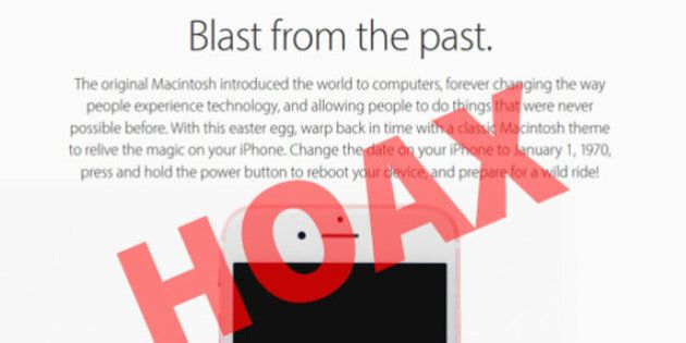 iHoax: Setting Your Apple Device Back To 1970 Will Turn It Into A