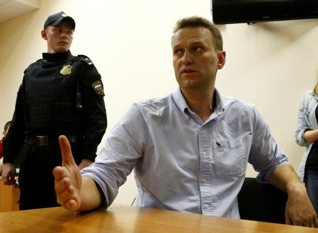 """Anti-Kremlin campaigner Alexei Navalny during his court hearing in Moscow on Monday. He was sentenced to 30 days behind bars for repeatedly organising """"unsanctioned"""" protests."""