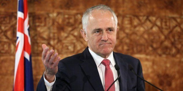 Australian Prime Minister Malcolm Turnbull speaks during a press conference with New Zealand Prime Minister...