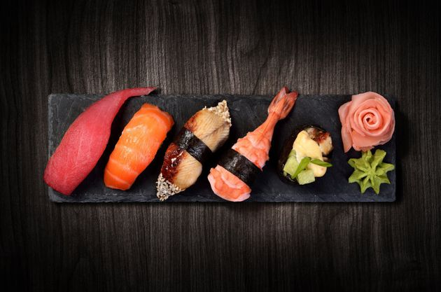 Pair fresh sushi with a glass of Rosé. Pink on pink -- too fun to