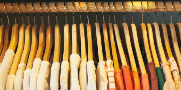 close up of wooden clothes