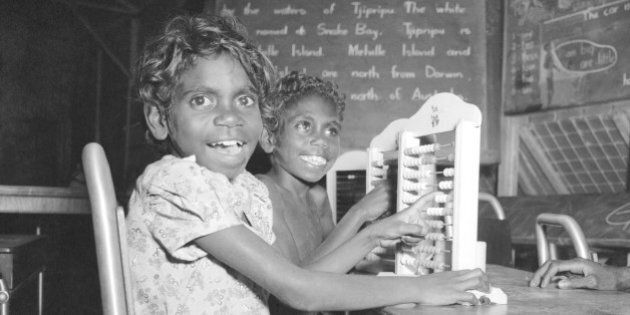 ' Alan Lambert trip around Australia. Melville Island. Alexandra and Jamie, students at the school at...