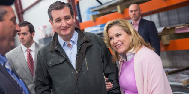 DANE, WI - MARCH 24: With his wife Heidi by his side, Republican presidential candidate Sen. Ted Cruz...