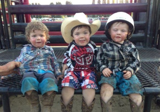 Beau Cosgrove (middle) with his brothers on the farm.