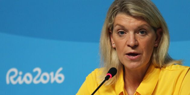 Kitty Chiller, speaking on behalf of the Australian Olympic contingent, in Rio.
