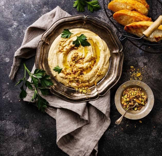 Make simple hummus using a can of chickpeas, tahini, lemon juice, olive oil and