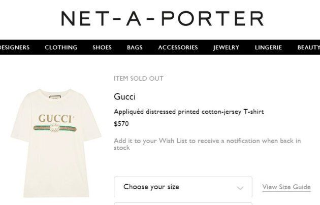 Not only is this Gucci tee $570, it's continuously sold out on
