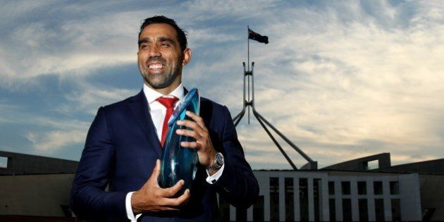 CANBERRA, AUSTRALIA - JANUARY 25: Adam Goodes poses for a portrait after being announced as the 2014...