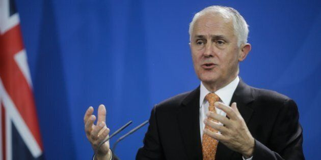 Prime Minister of Australia Malcolm Turnbull briefs the media during a news conference after talks with...