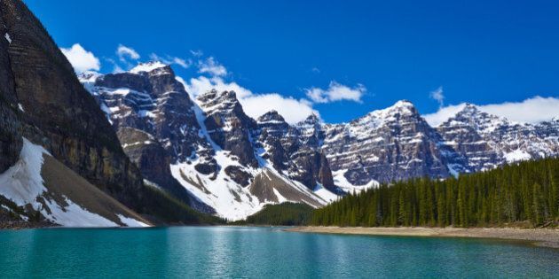 Snowy mountains overlooking glacial