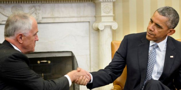 US President Barack Obama and Australia Prime Minister Malcolm Turnbull shake hands during a meeting...