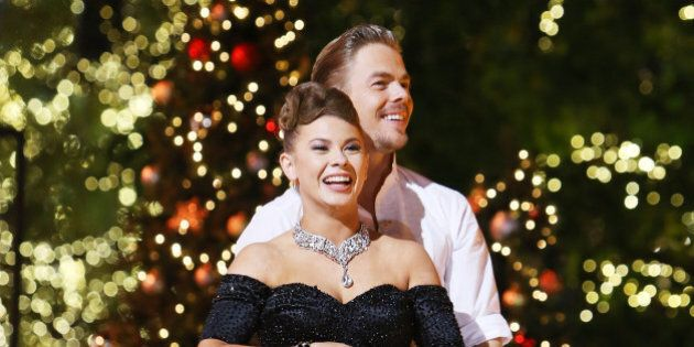 LOS ANGELES, CA - NOVEMBER 24:  Bindi Irwin and Derek Hough onstage during ABC's 'Dancing With The Stars' live finale held at The Grove on November 24, 2015 in Los Angeles, California.  (Photo by Michael Tran/FilmMagic)