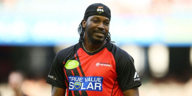 MELBOURNE, AUSTRALIA - JANUARY 18: Chris Gayle of the Renegades looks on prior to the Big Bash League...
