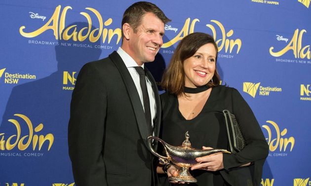 Baird and wife Kerryn Baird at the opening night of Disney's Aladdin two weeks ago. Maybe he should've...