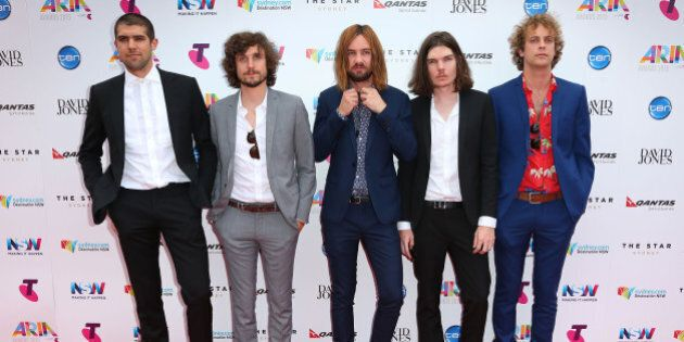 SYDNEY, AUSTRALIA - NOVEMBER 26: Tame Impala arrives for the 29th Annual ARIA Awards 2015 at The Star...