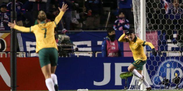 OSAKA, JAPAN - FEBRUARY 29: (CHINA OUT) Lisa De Vanna #11 of Australia celebrates after socring her team's...