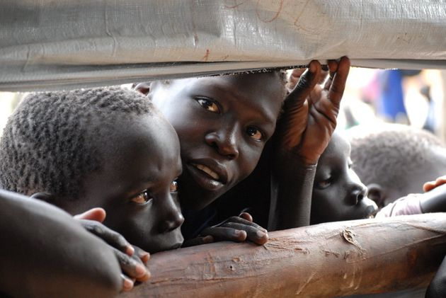 Children at Imvepi Refugee Camp in Uganda, where alongside food distributions, World Vision assesses...