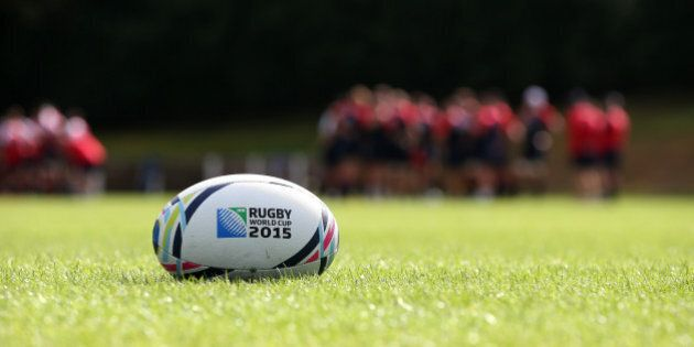BAGSHOT, ENGLAND - AUGUST 26: A Rugby World cup ball lies on the pitch as England train during the England...