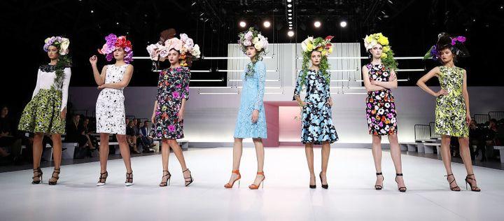 Models wear Oscar de la Renta during the Myer Spring 16 Fashion Launch.