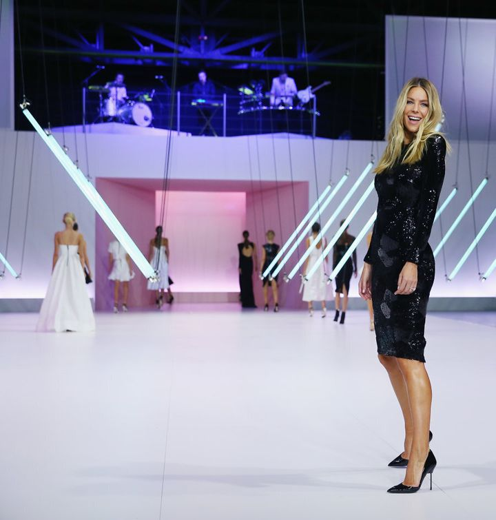 Jennifer Hawkins wears Alex Perry during the Myer Spring 16 Launch.