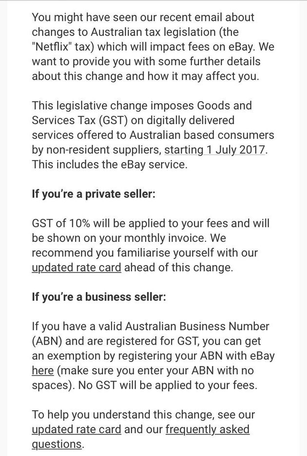 An email from eBay Australia to users, alerting them of the impending