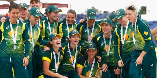 CARDIFF, WALES - AUGUST 31:  Australia Women's celebrate winning the Ashes during the 3rd NatWest T20 of the Women's Ashes Series between England and Australia Women at SWALEC Stadium on August 31, 2015 in Cardiff, United Kingdom.  (Photo by Julian Finney/Getty Images)