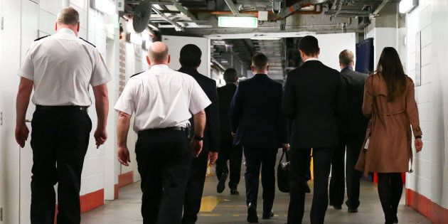 Parliament House security officers, staff members of Senator Stephen Conroy and AFP officers in the basement...